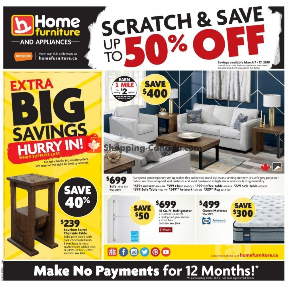 Flyer Home Furniture Canada - from Thursday March 7, 2019 to Sunday March 17, 2019