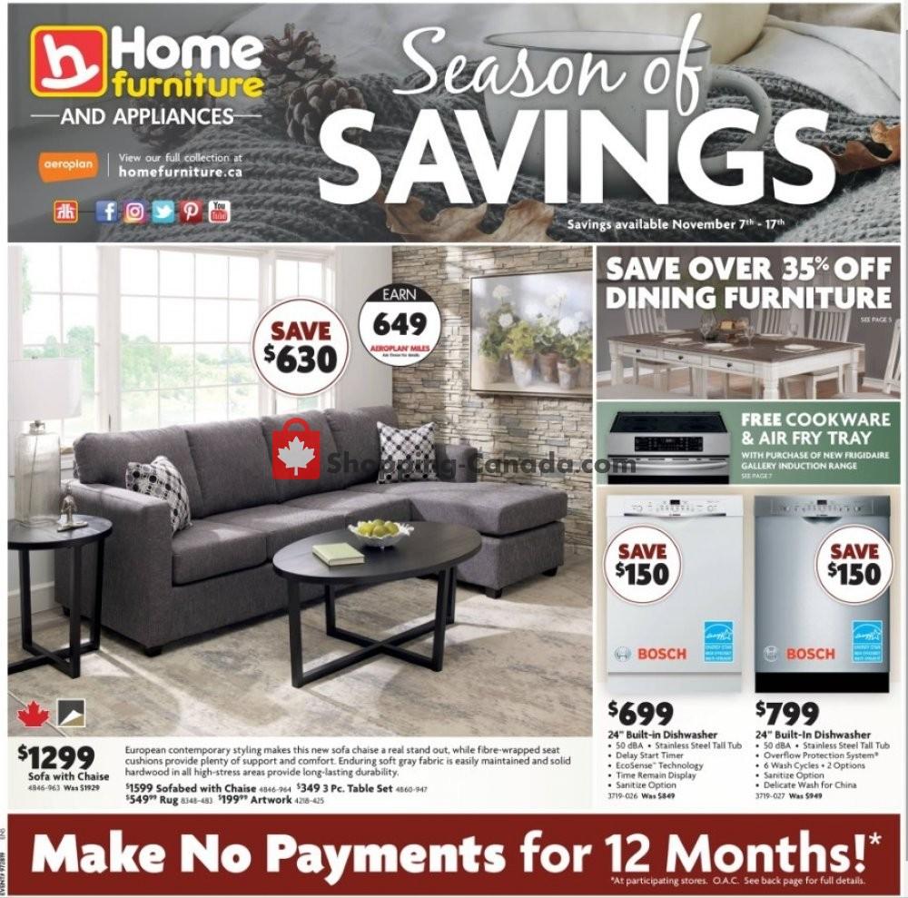 Flyer Home Furniture Canada - from Thursday November 7, 2019 to Sunday November 17, 2019