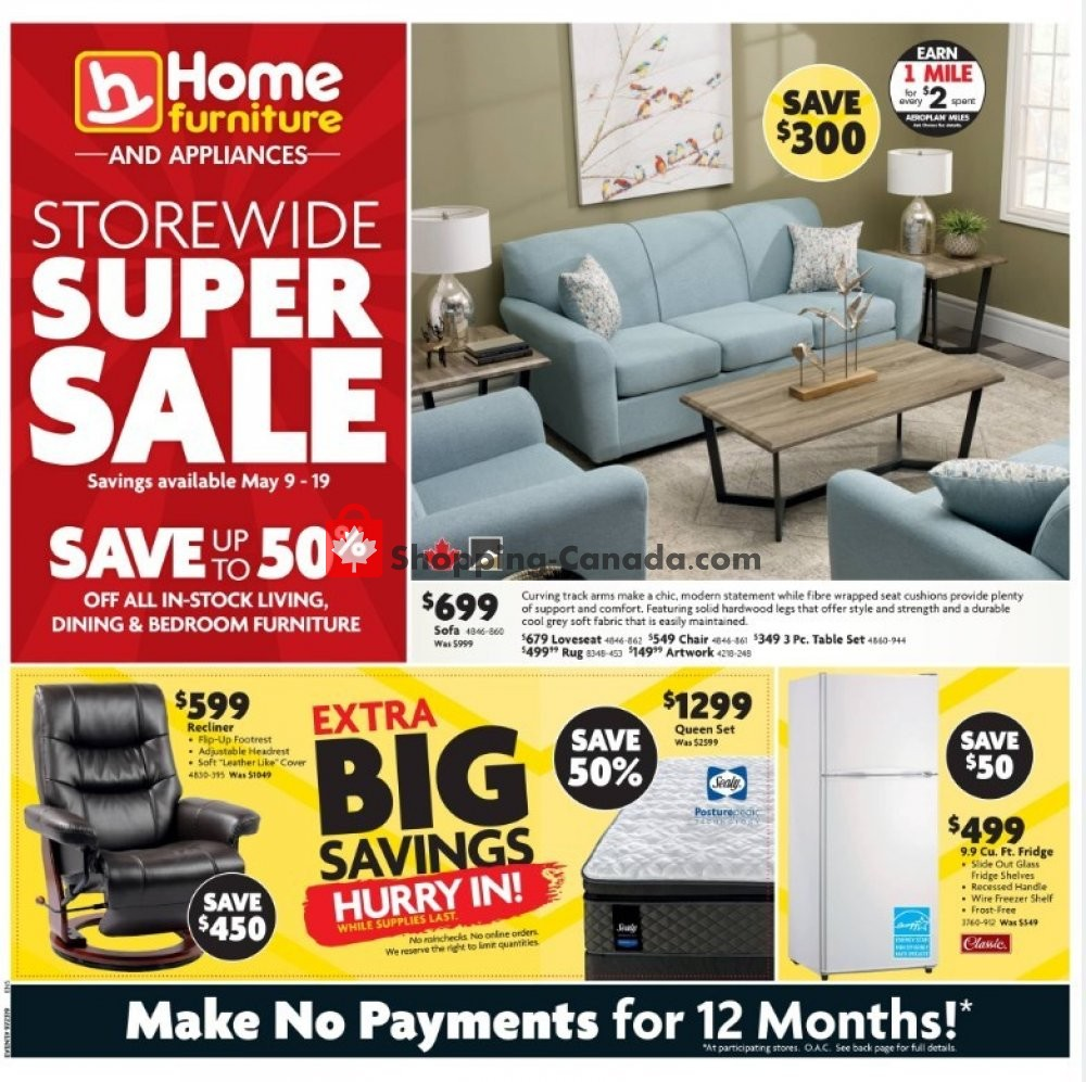 Flyer Home Furniture Canada - from Thursday May 9, 2019 to Sunday May 19, 2019