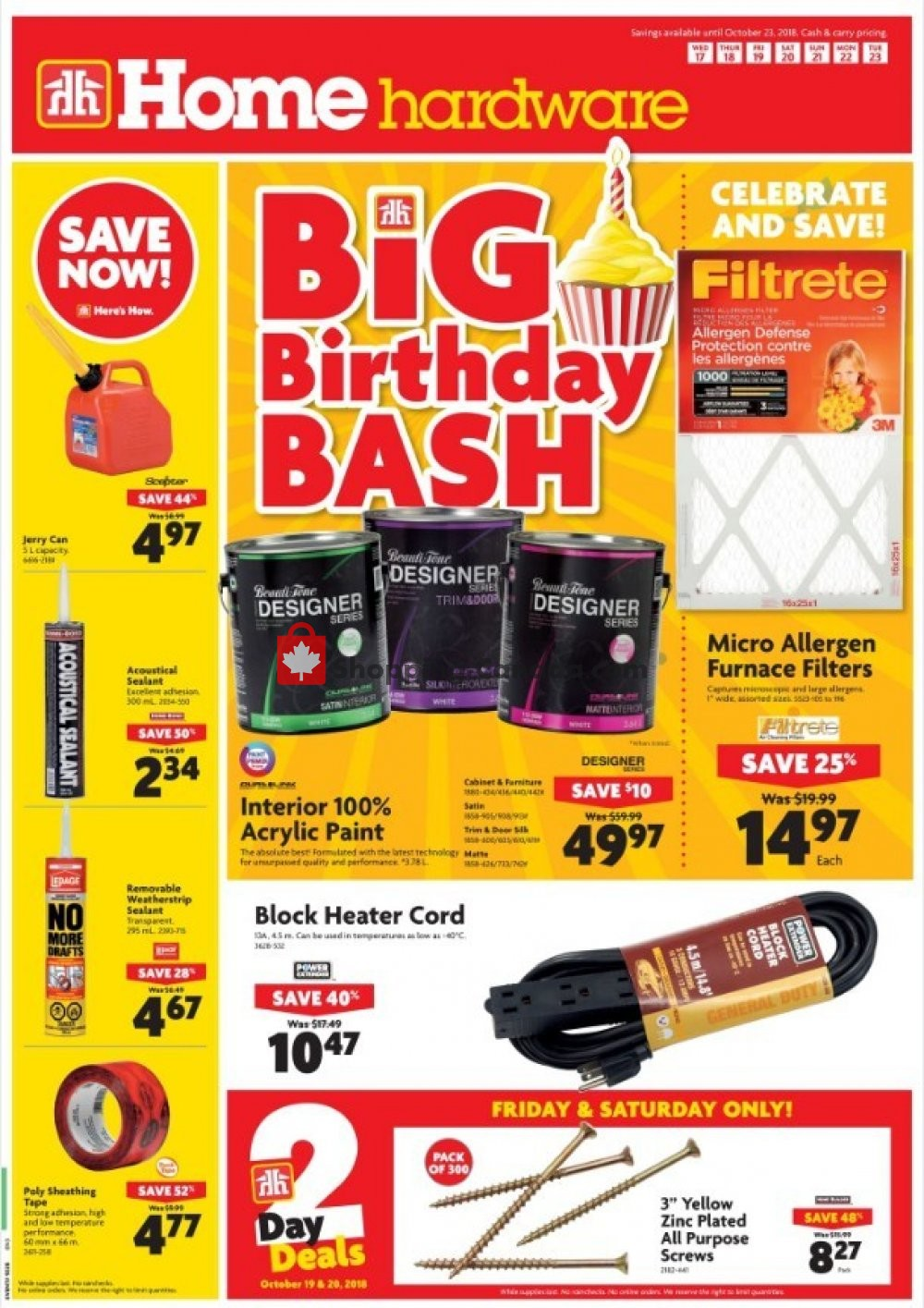 Flyer Home Hardware Canada - from Wednesday October 17, 2018 to Tuesday October 23, 2018