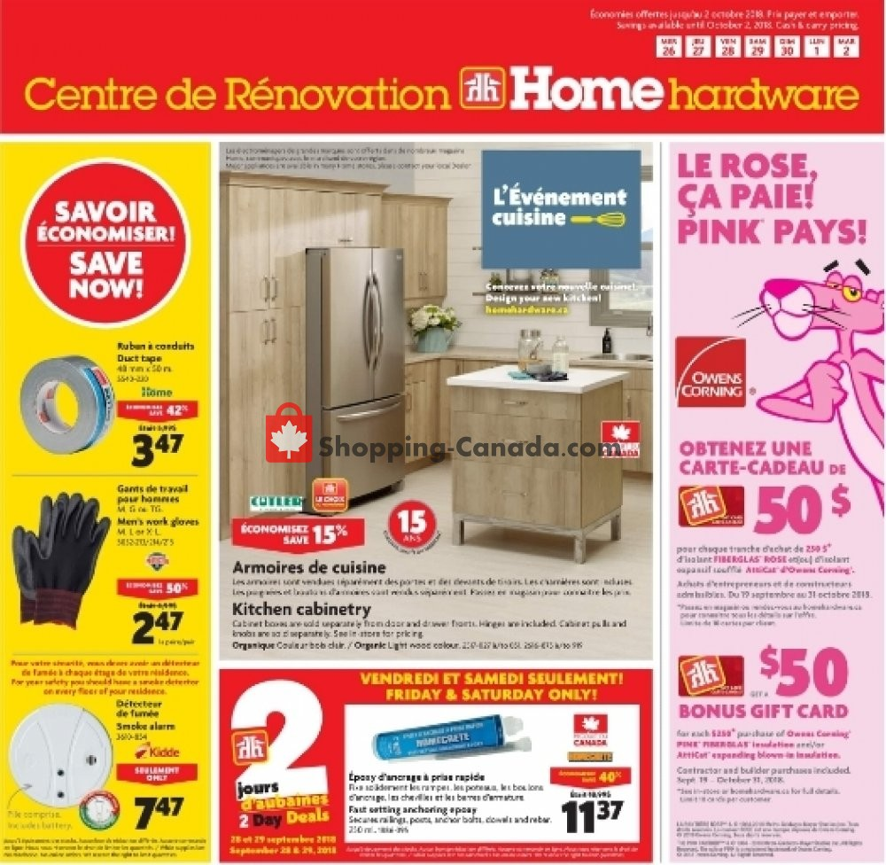 Flyer Home Hardware Canada - from Wednesday September 26, 2018 to Tuesday October 2, 2018