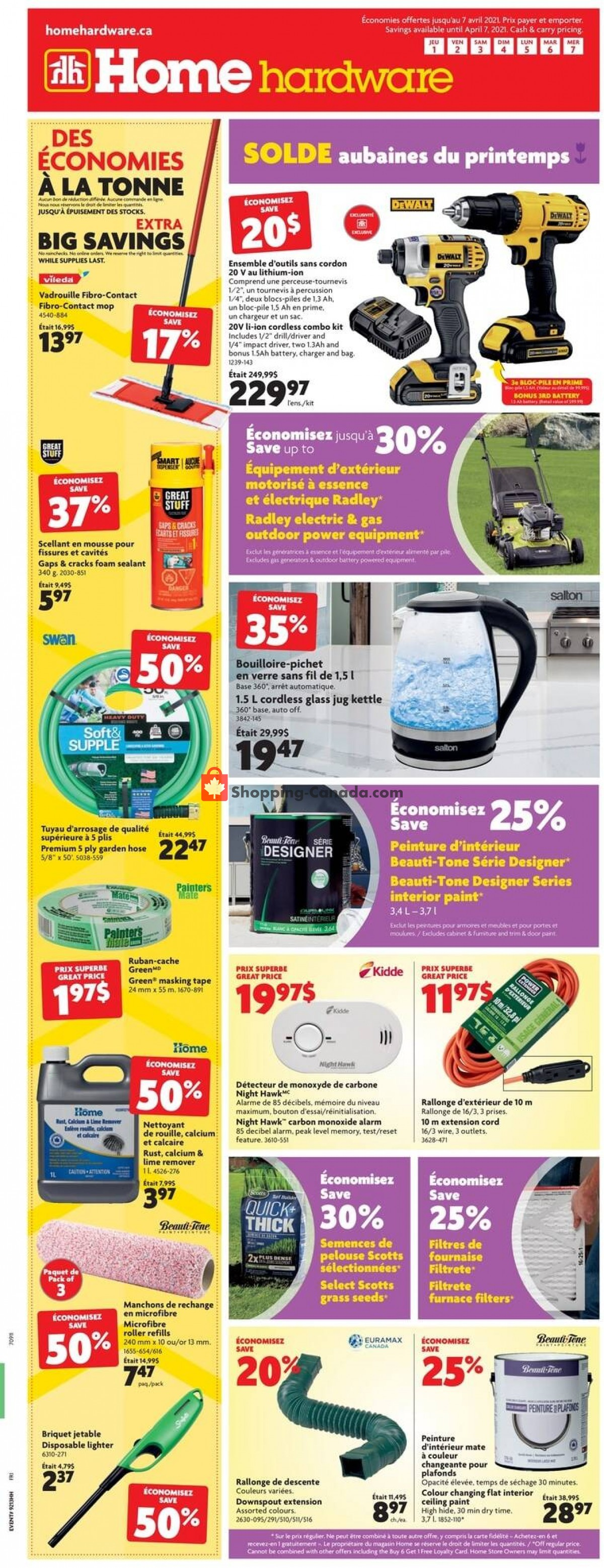 Flyer Home Hardware Canada - from Thursday April 1, 2021 to Wednesday April 7, 2021