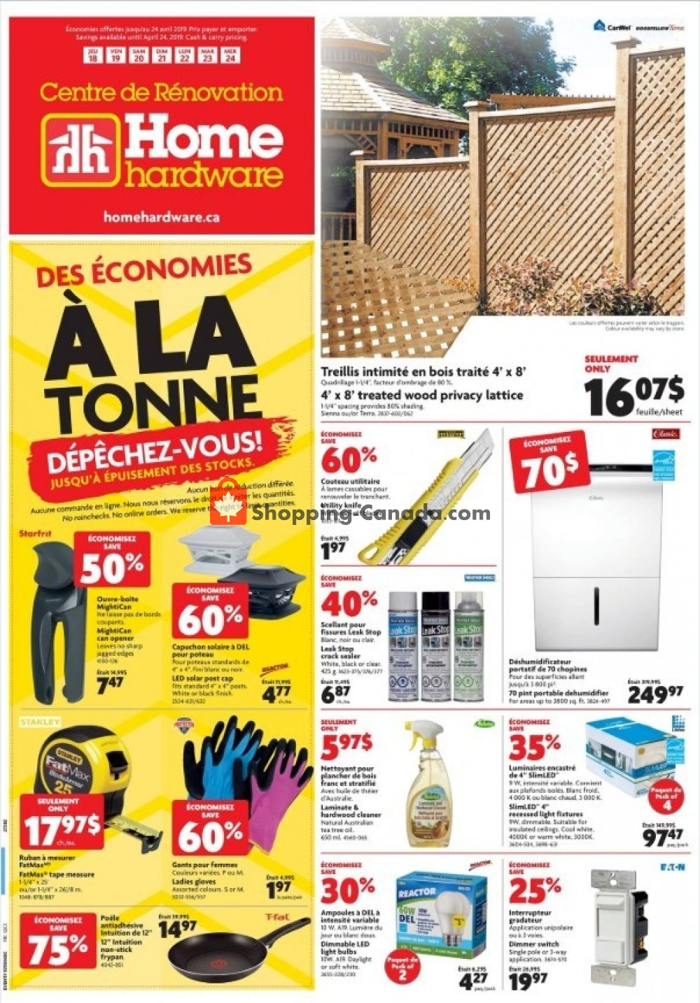 Flyer Home Hardware Canada - from Thursday April 18, 2019 to Wednesday April 24, 2019