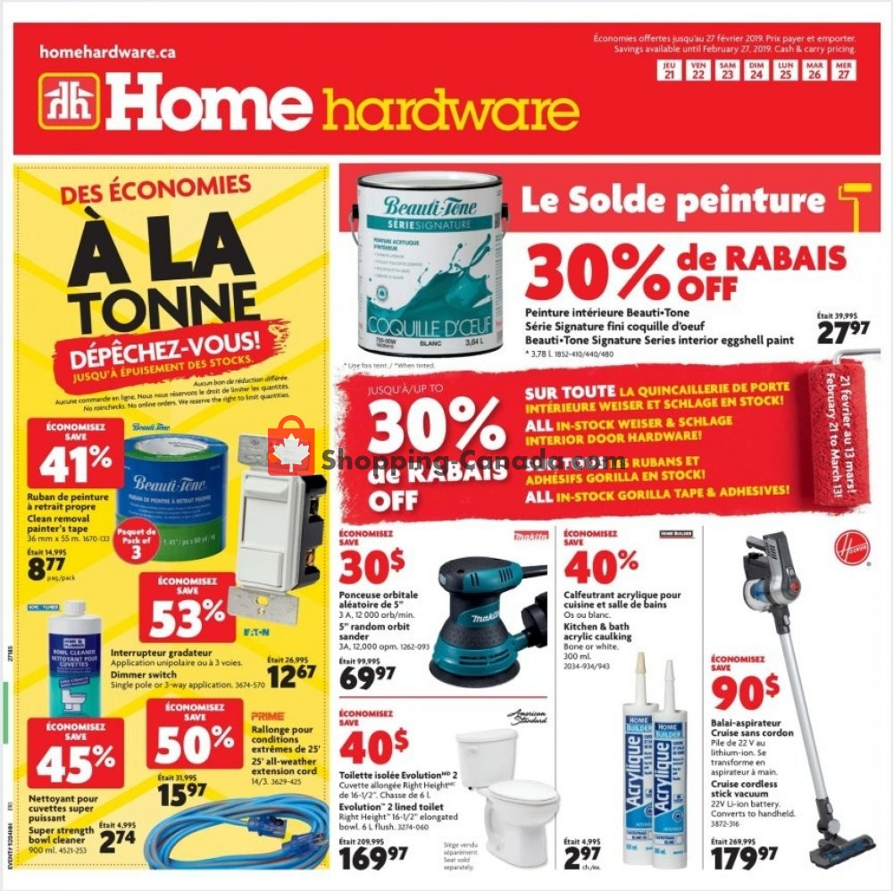 Flyer Home Hardware Canada - from Thursday February 21, 2019 to Wednesday February 27, 2019