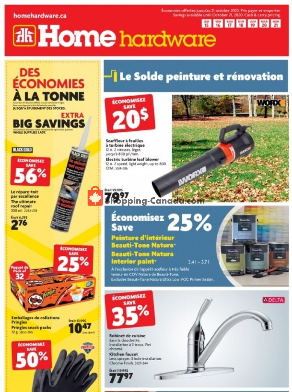 Flyer Home Hardware Canada - from Thursday October 15, 2020 to Wednesday October 21, 2020