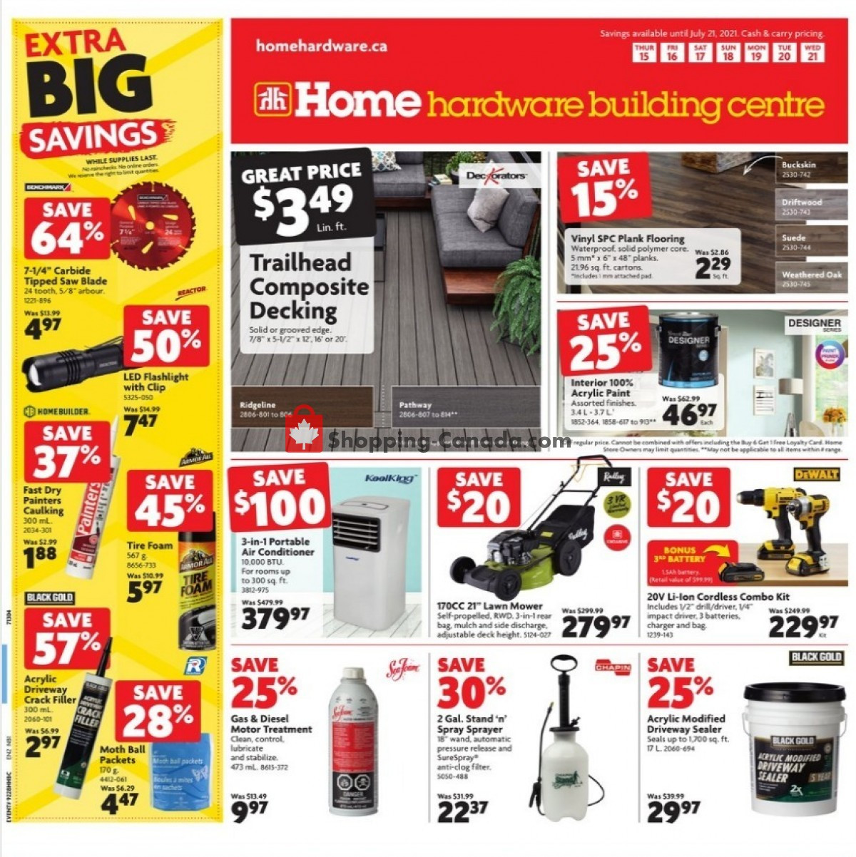 Flyer Home Hardware Canada - from Thursday July 15, 2021 to Wednesday July 21, 2021