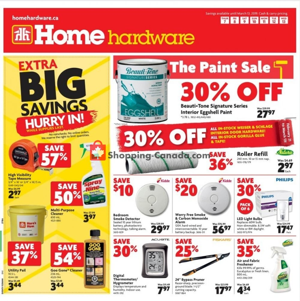 Flyer Home Hardware Canada - from Thursday March 7, 2019 to Wednesday March 13, 2019
