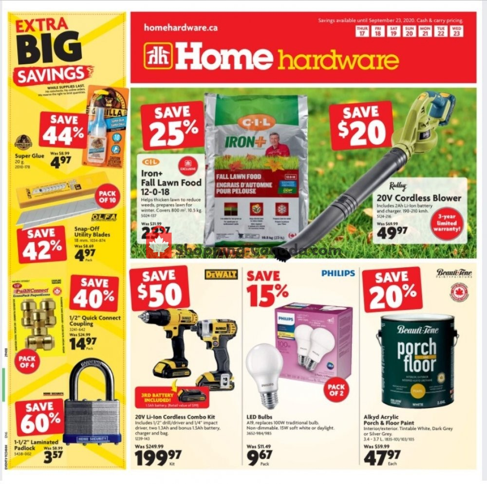 Flyer Home Hardware Canada - from Thursday September 17, 2020 to Wednesday September 23, 2020