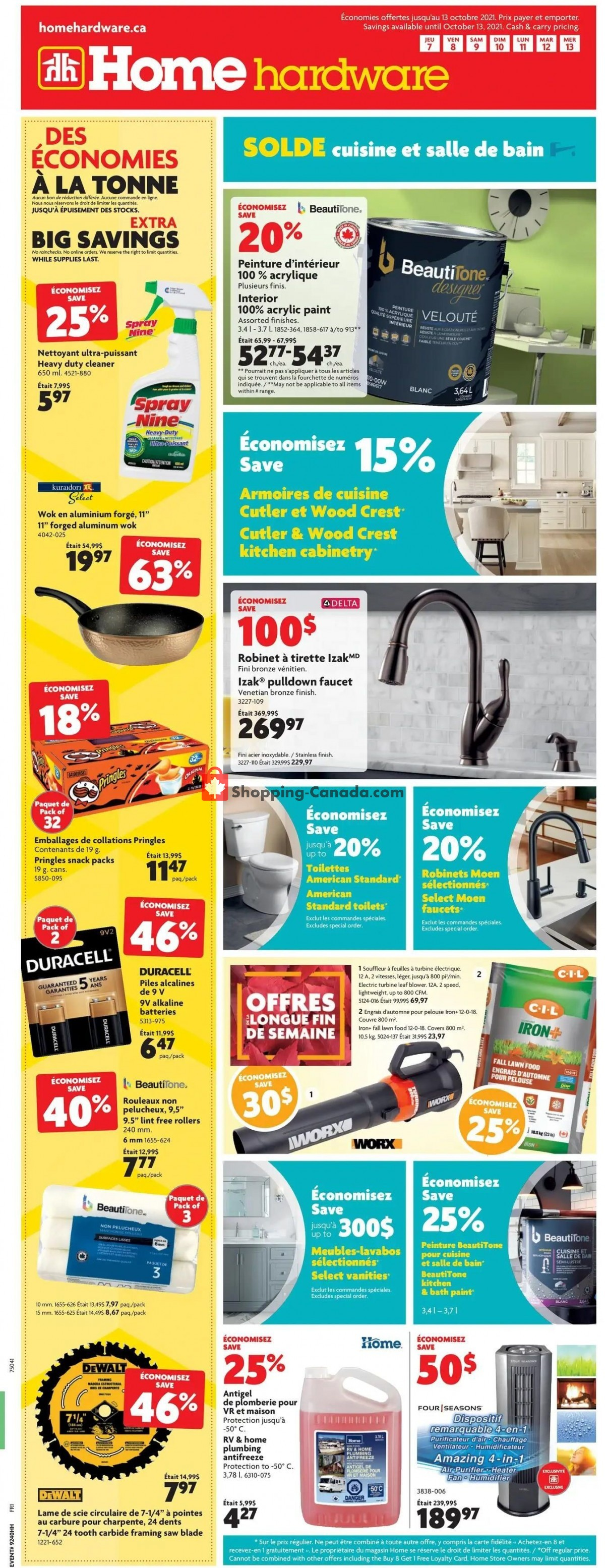 Flyer Home Hardware Canada - from Thursday October 7, 2021 to Wednesday October 13, 2021