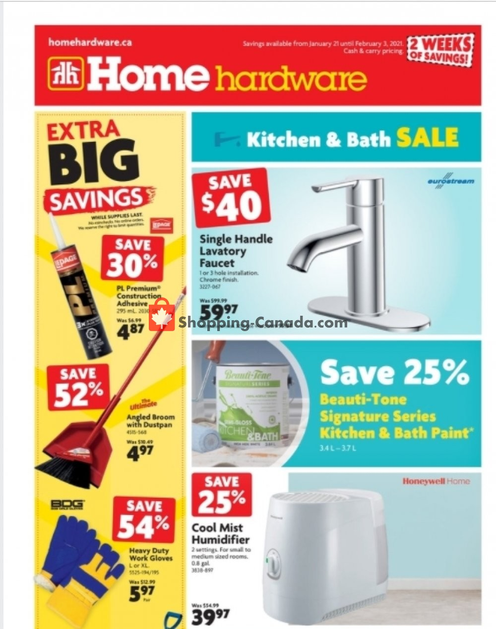 Flyer Home Hardware Canada - from Thursday January 21, 2021 to Wednesday February 3, 2021