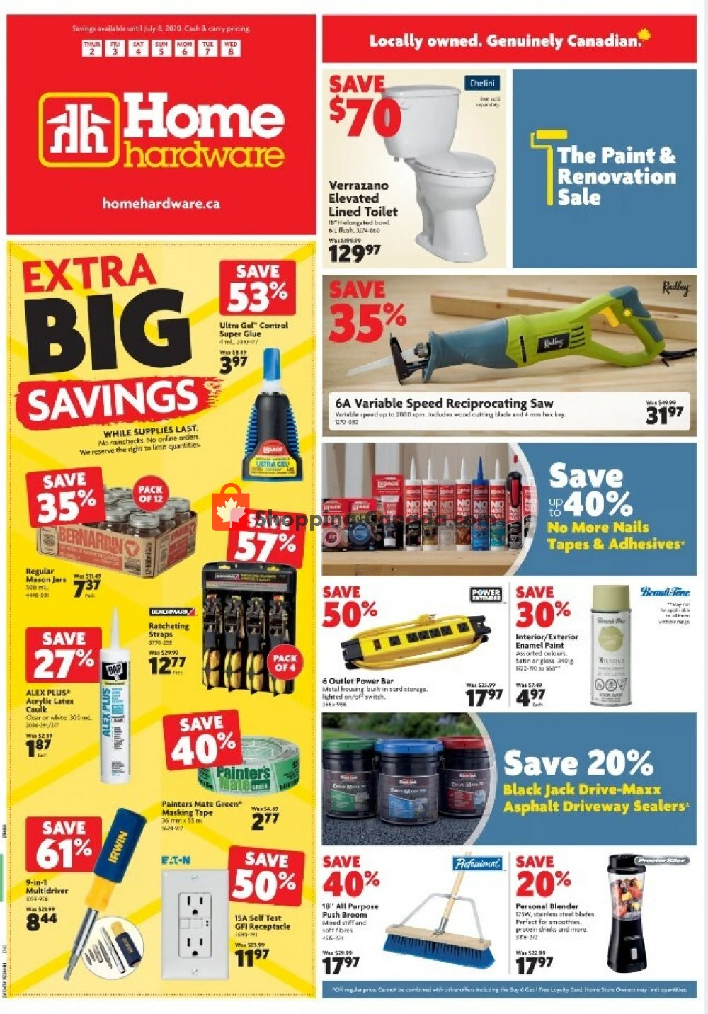 Flyer Home Hardware Canada - from Thursday July 2, 2020 to Wednesday July 8, 2020