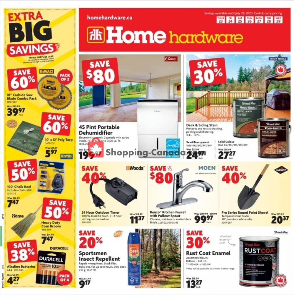 Flyer Home Hardware Canada - from Thursday July 23, 2020 to Wednesday July 29, 2020