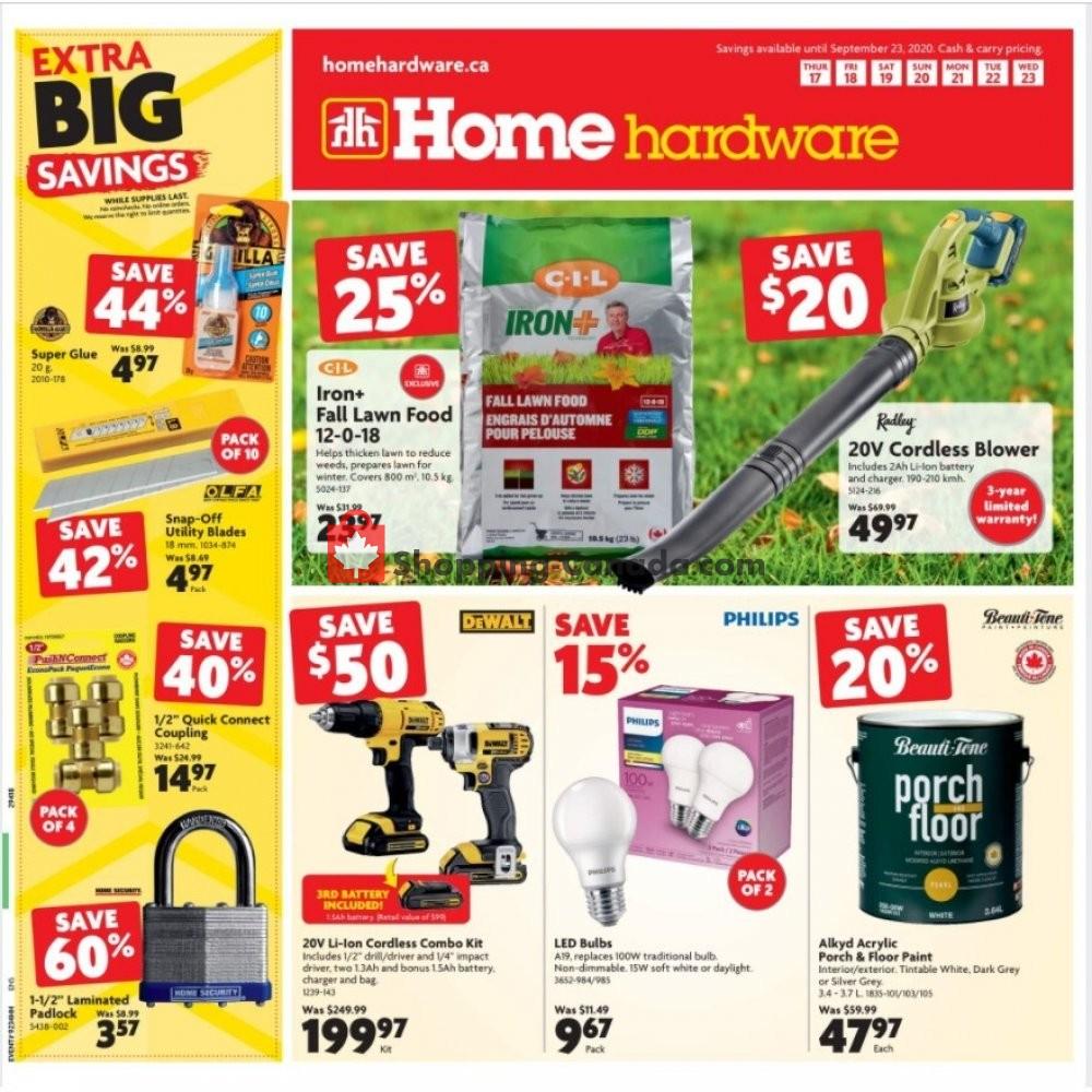 Flyer Home Hardware Canada - from Thursday September 17, 2020 to Wednesday September 23, 2020