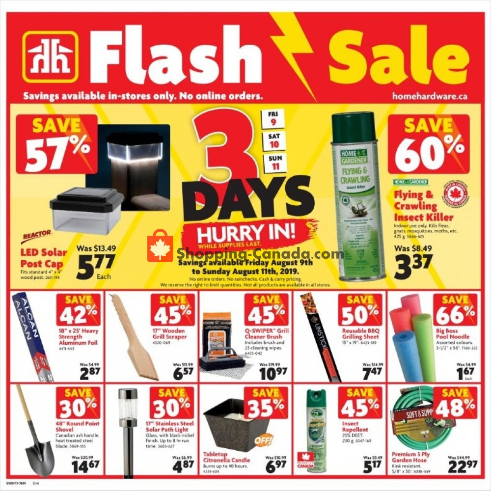Flyer Home Hardware Canada - from Friday August 9, 2019 to Sunday August 11, 2019