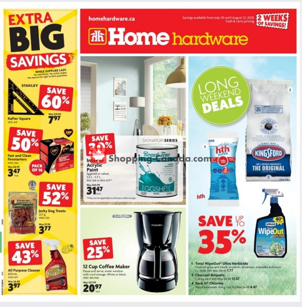 Flyer Home Hardware Canada - from Thursday July 30, 2020 to Wednesday August 12, 2020