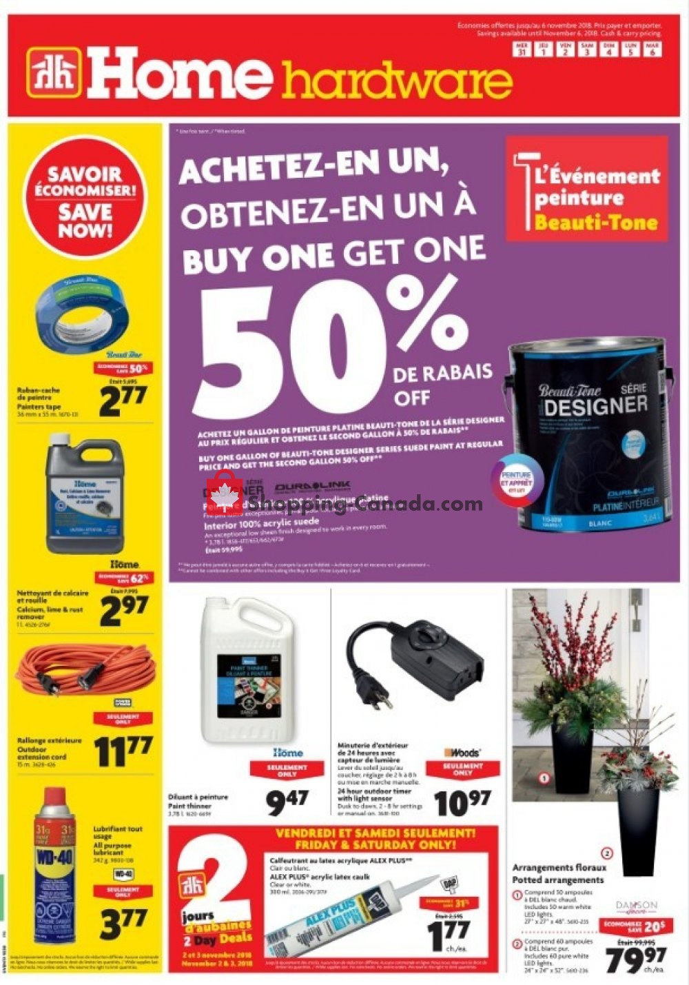 Flyer Home Hardware Canada - from Wednesday October 31, 2018 to Tuesday November 6, 2018