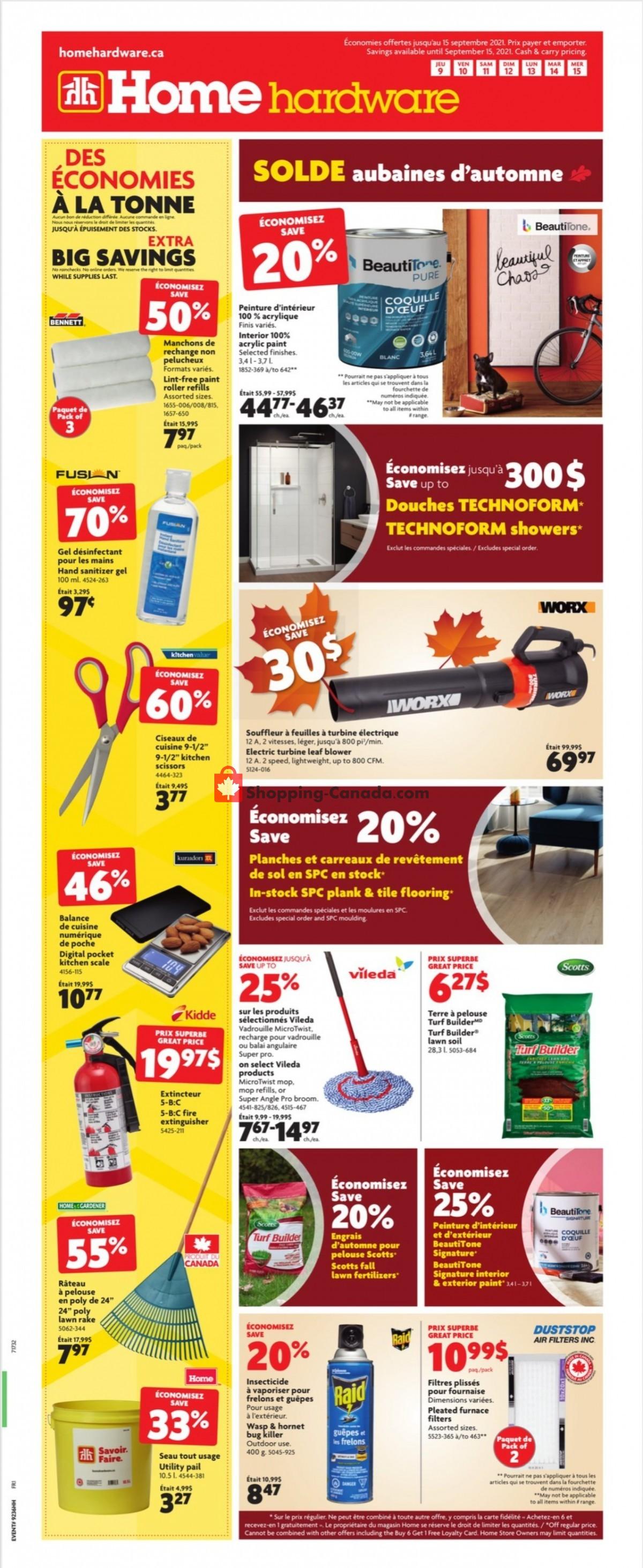 Flyer Home Hardware Canada - from Thursday September 9, 2021 to Wednesday September 15, 2021