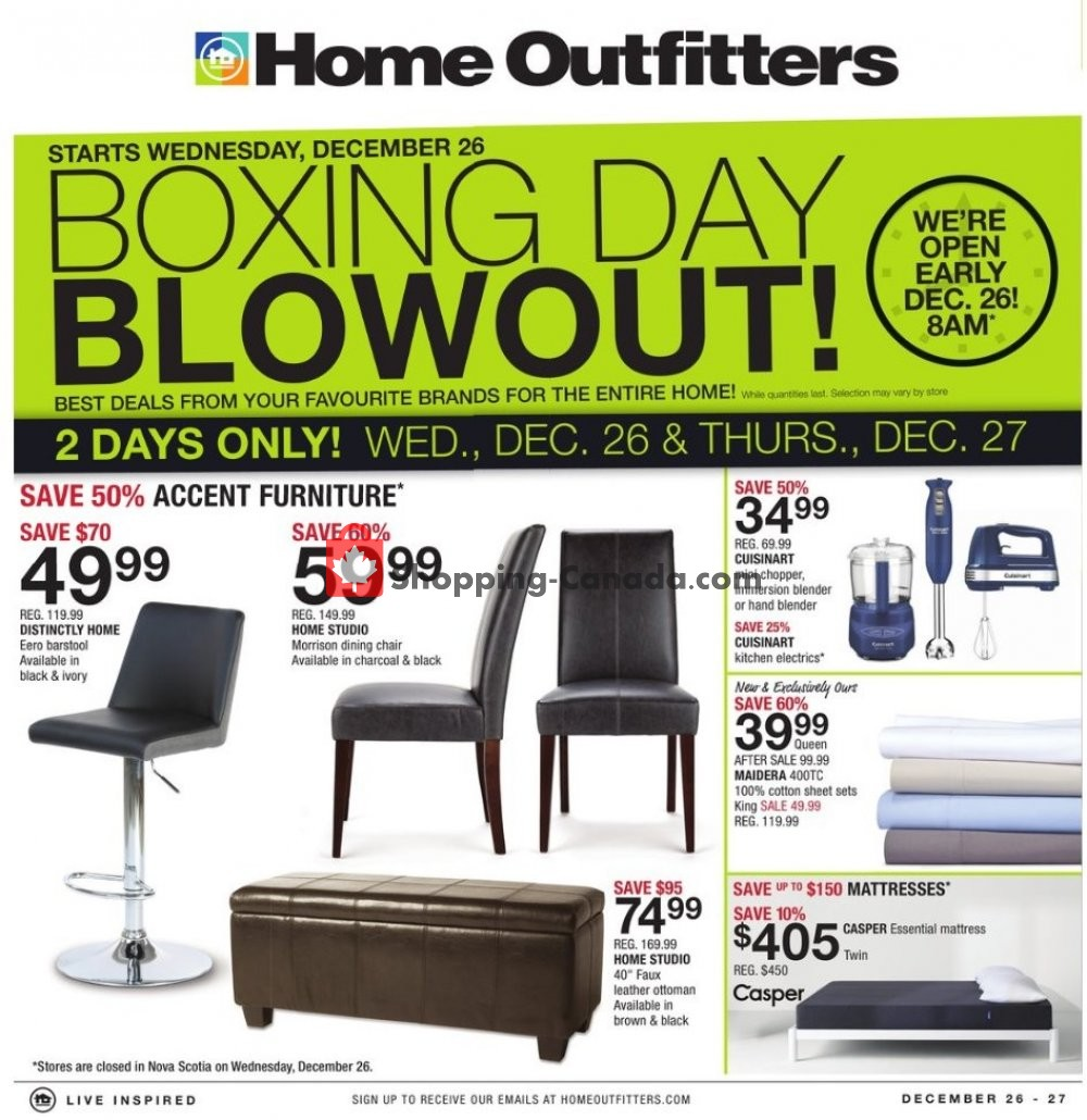 flyer and weekly ads home outfitters canada boxing day. Black Bedroom Furniture Sets. Home Design Ideas
