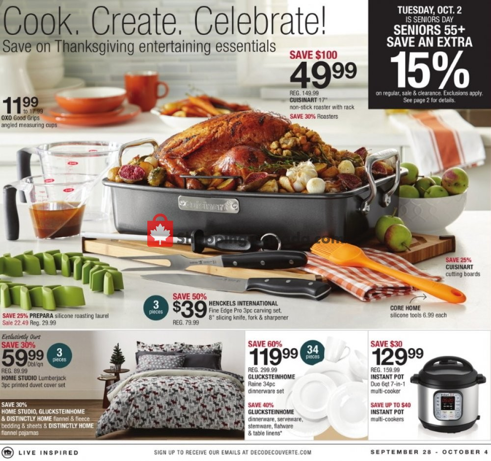Flyer Home Outfitters Canada - from Friday September 28, 2018 to Thursday October 4, 2018