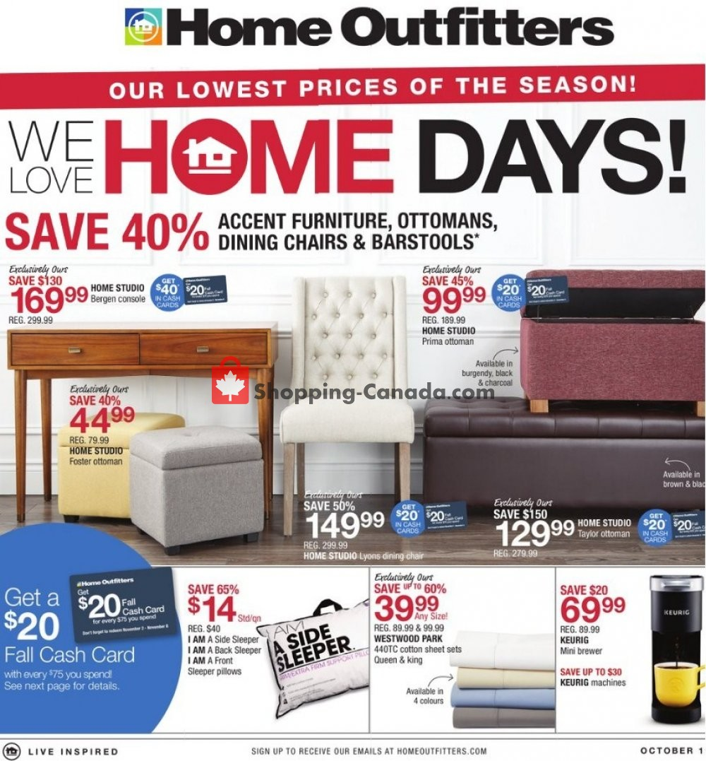 Flyer Home Outfitters Canada - from Friday October 19, 2018 to Thursday October 25, 2018