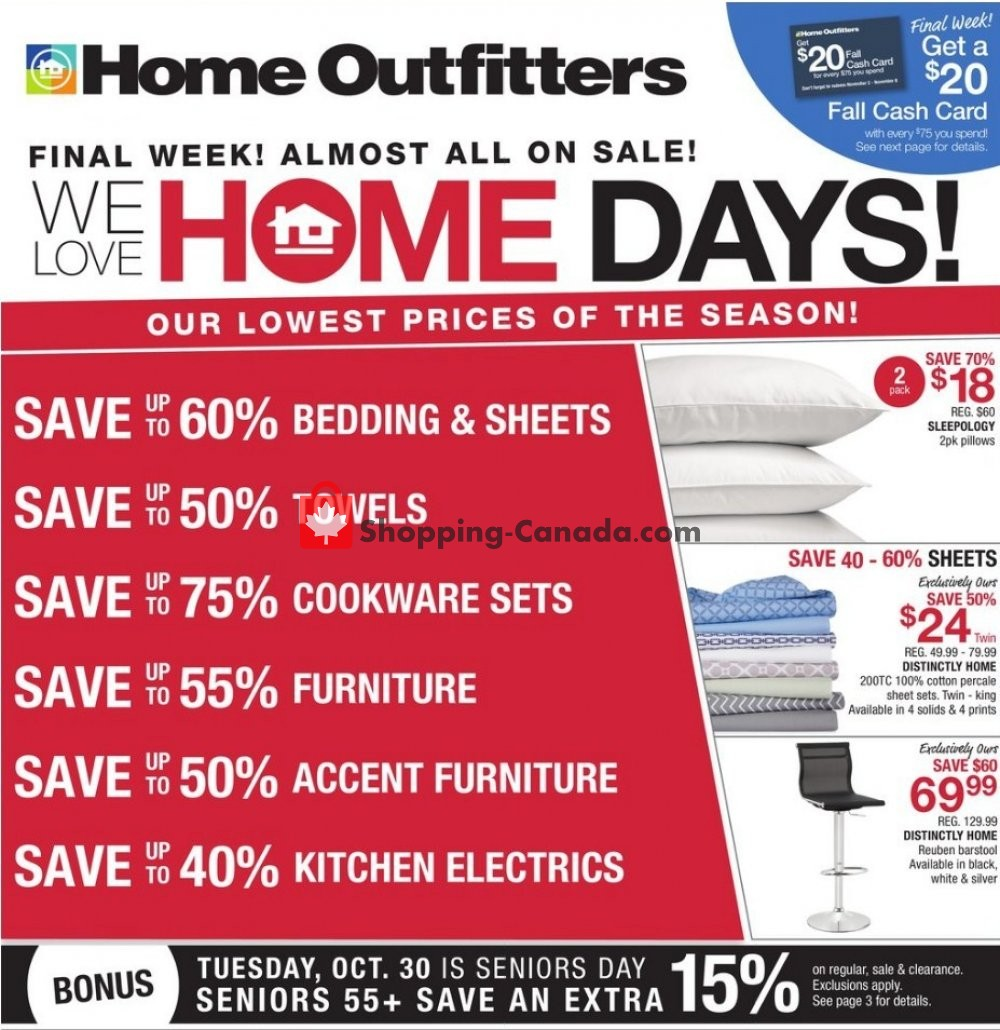 Flyer Home Outfitters Canada - from Friday October 26, 2018 to Thursday November 1, 2018