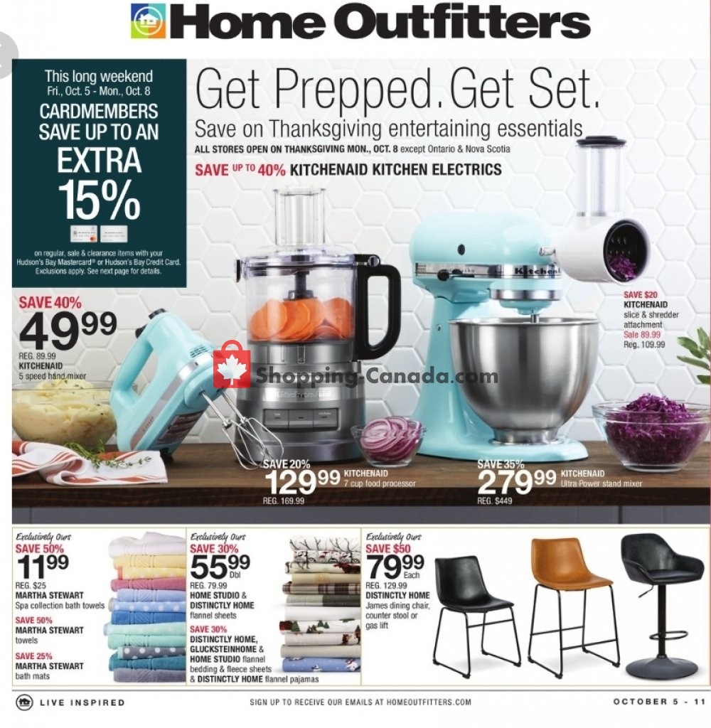 Flyer Home Outfitters Canada - from Friday October 5, 2018 to Thursday October 11, 2018