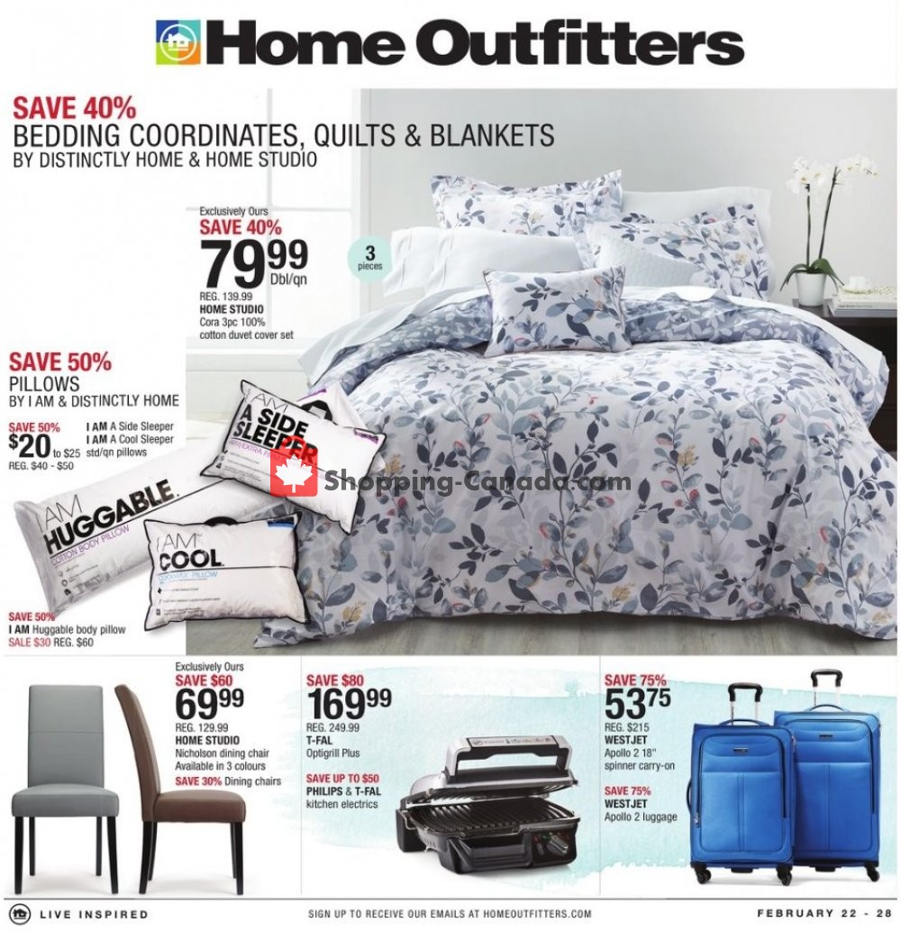 Flyer Home Outfitters Canada - from Friday February 22, 2019 to Thursday February 28, 2019