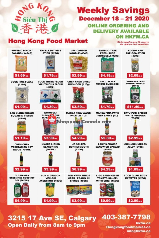 Flyer Hong Kong FoodMarket Canada - from Friday December 18, 2020 to Monday December 21, 2020
