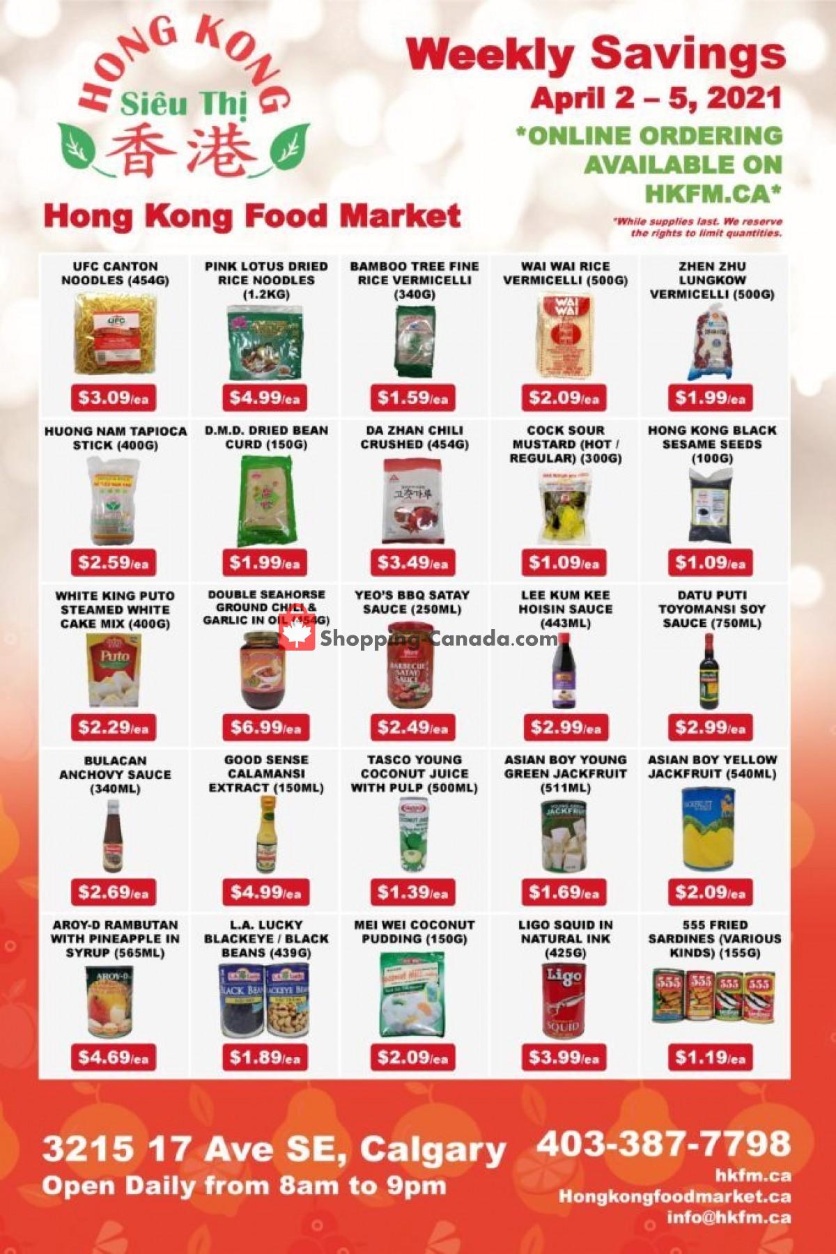 Flyer Hong Kong FoodMarket Canada - from Friday April 2, 2021 to Monday April 5, 2021