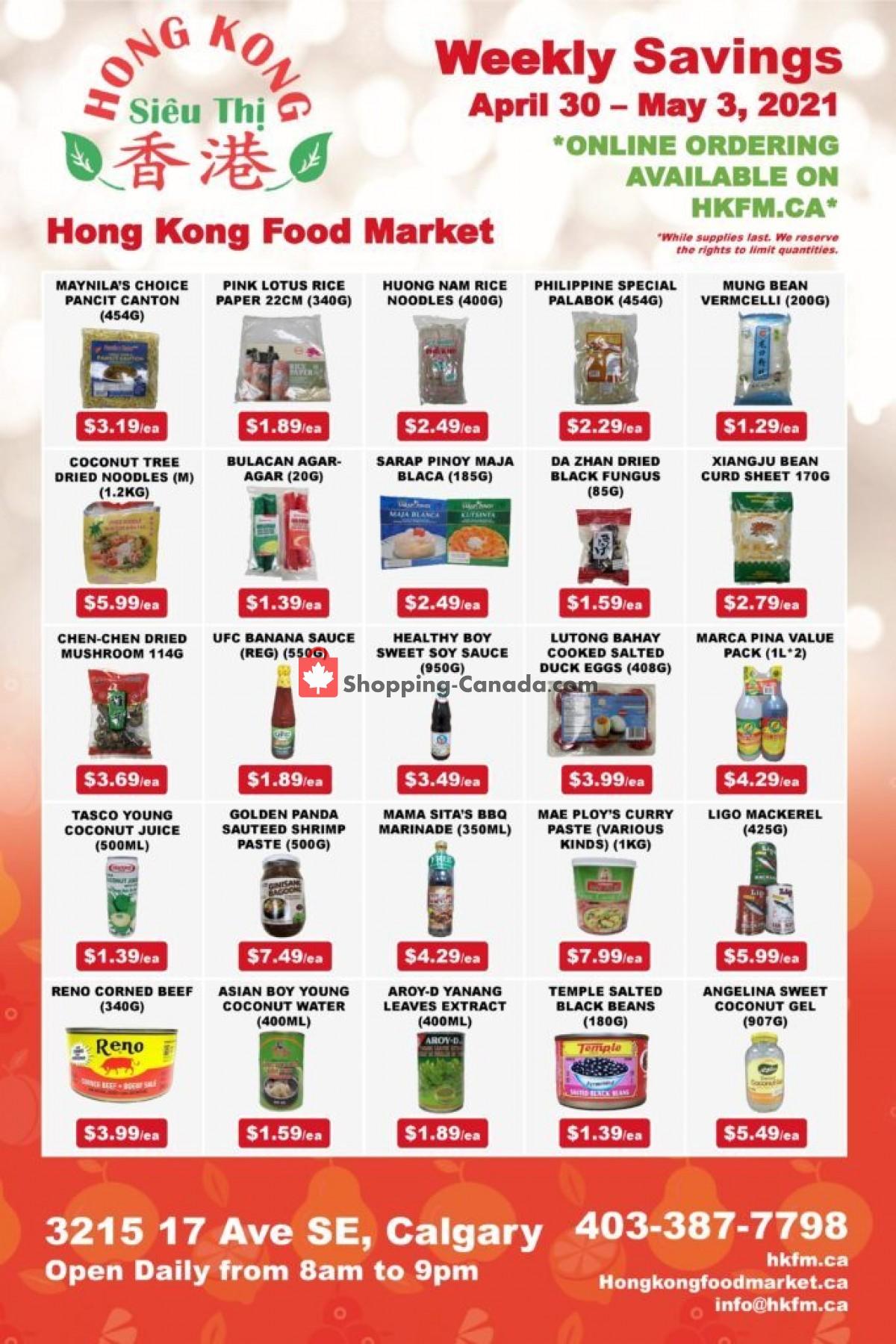 Flyer Hong Kong FoodMarket Canada - from Friday April 30, 2021 to Monday May 3, 2021