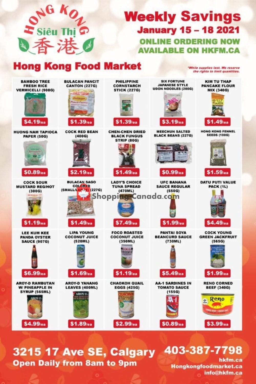 Flyer Hong Kong FoodMarket Canada - from Friday January 15, 2021 to Monday January 18, 2021