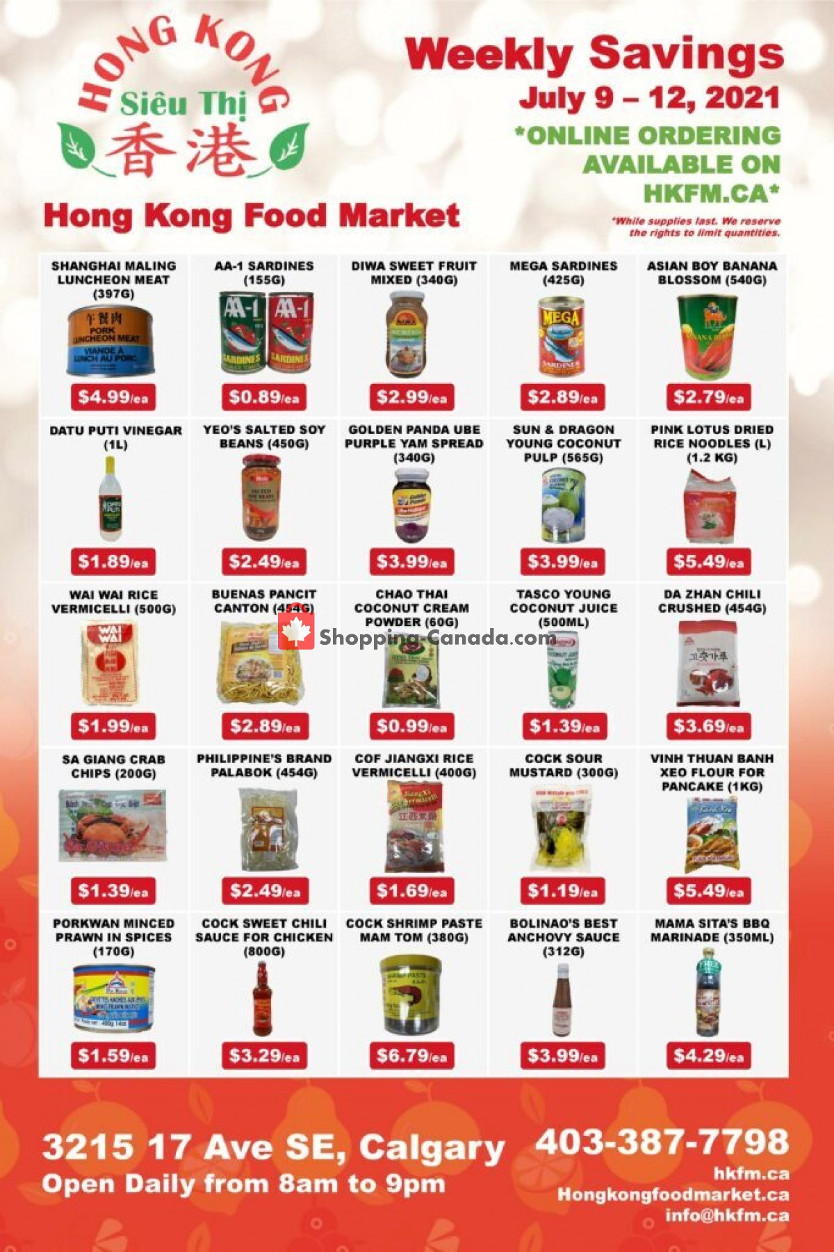 Flyer Hong Kong FoodMarket Canada - from Friday July 9, 2021 to Monday July 12, 2021