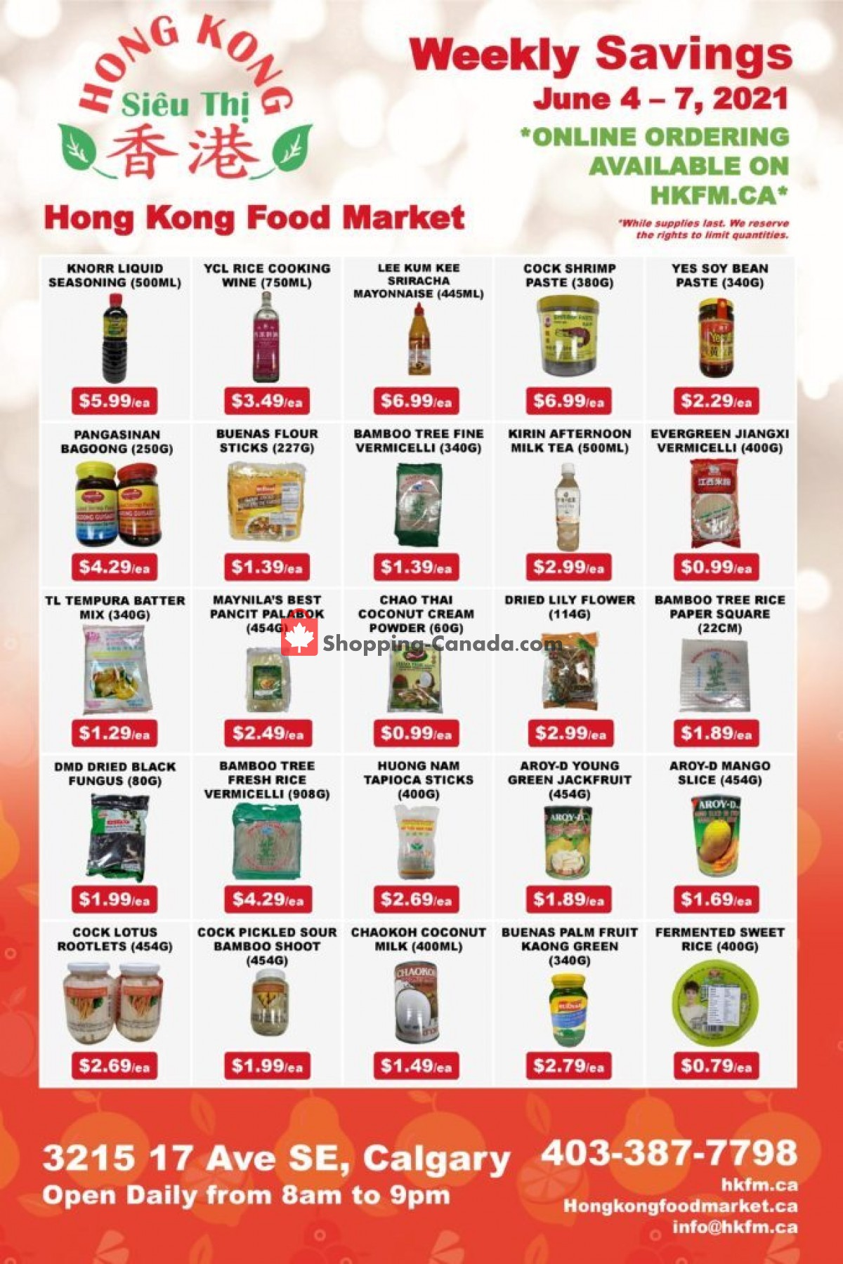 Flyer Hong Kong FoodMarket Canada - from Friday June 4, 2021 to Monday June 7, 2021
