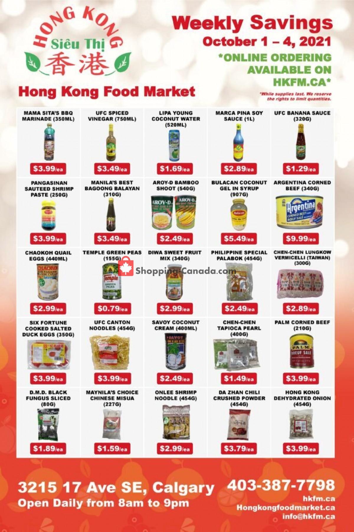 Flyer Hong Kong FoodMarket Canada - from Friday October 1, 2021 to Monday October 4, 2021