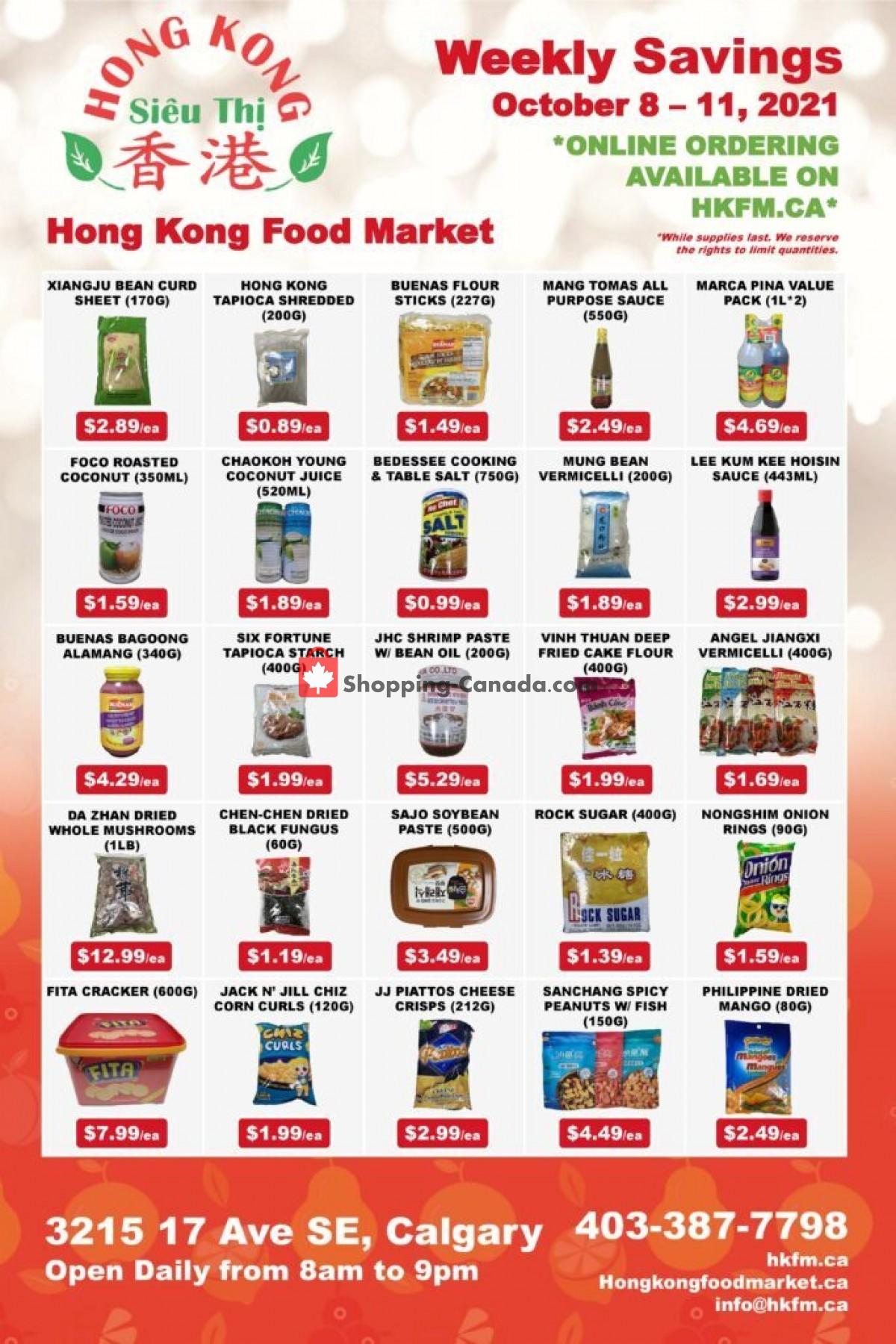 Flyer Hong Kong FoodMarket Canada - from Friday October 8, 2021 to Monday October 11, 2021