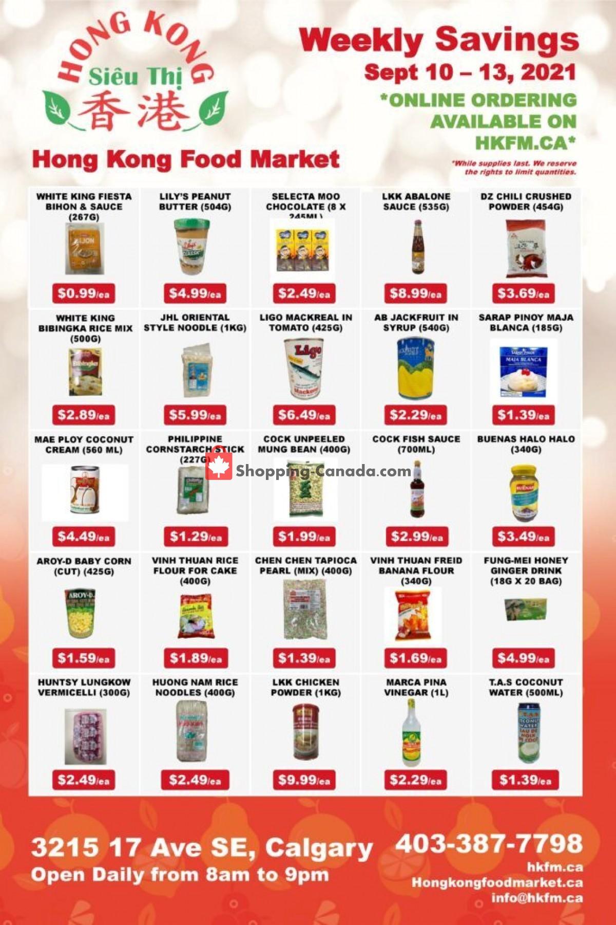 Flyer Hong Kong FoodMarket Canada - from Friday September 10, 2021 to Monday September 13, 2021