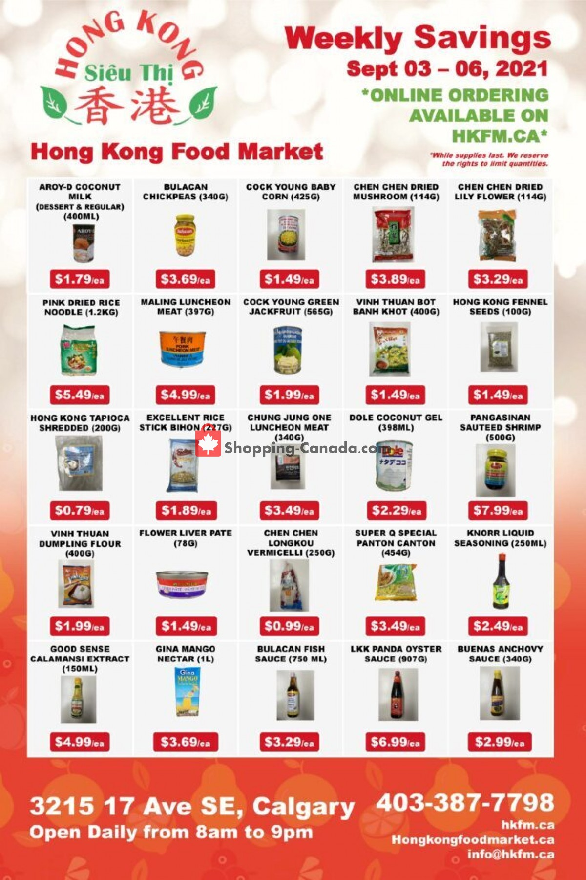 Flyer Hong Kong FoodMarket Canada - from Friday September 3, 2021 to Monday September 6, 2021