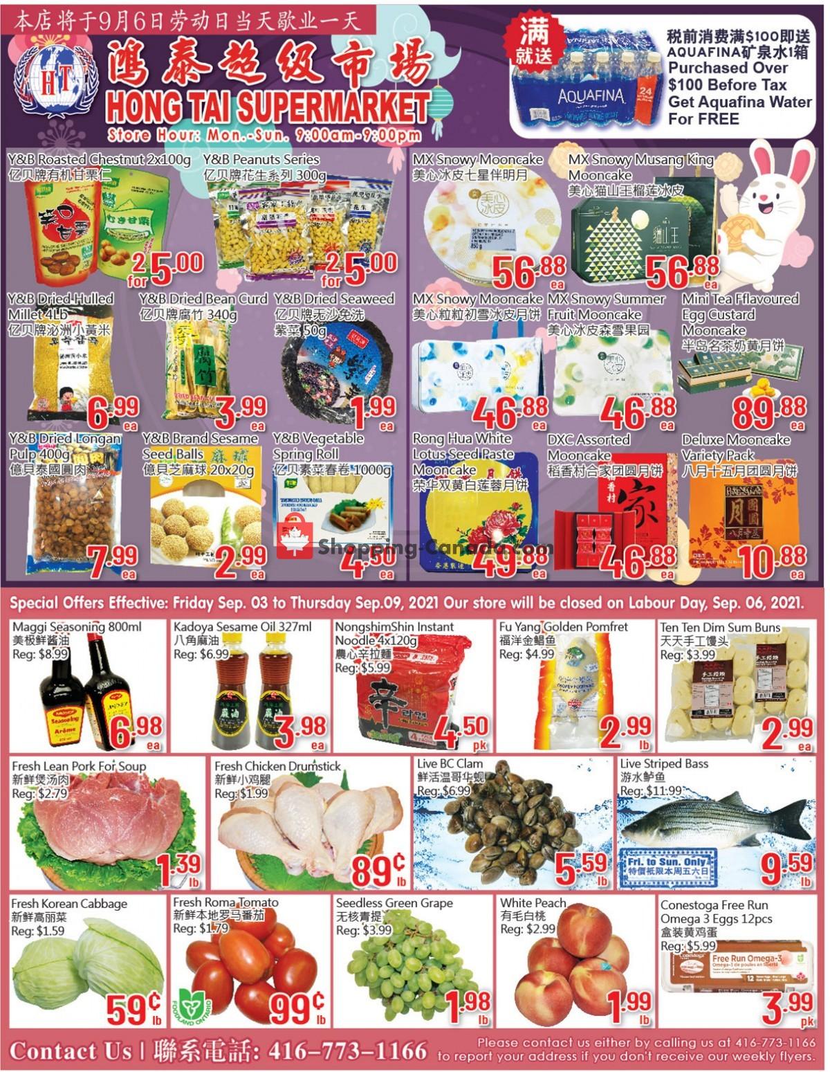 Flyer Hong Tai Supermarket Canada - from Friday September 3, 2021 to Thursday September 9, 2021