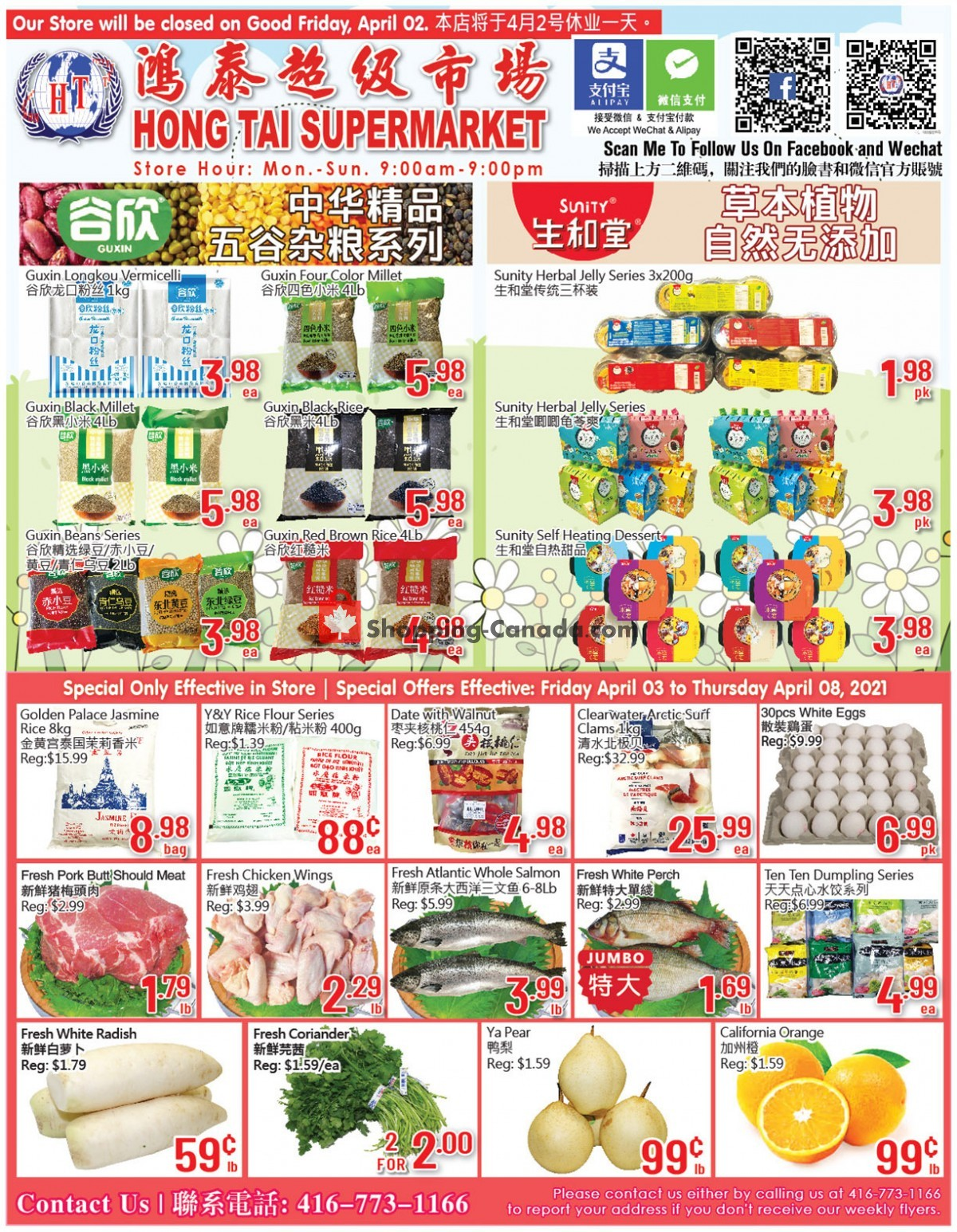 Flyer Hong Tai Supermarket Canada - from Friday April 2, 2021 to Thursday April 8, 2021