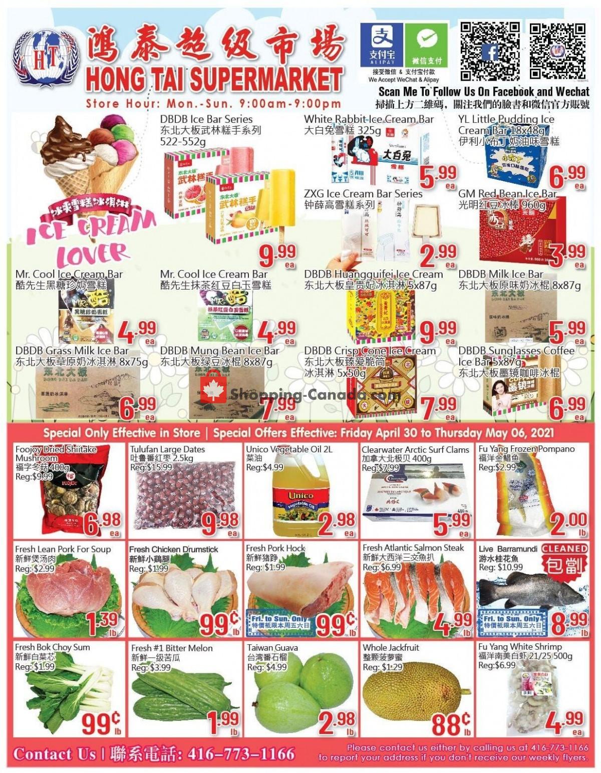 Flyer Hong Tai Supermarket Canada - from Friday April 30, 2021 to Thursday May 6, 2021