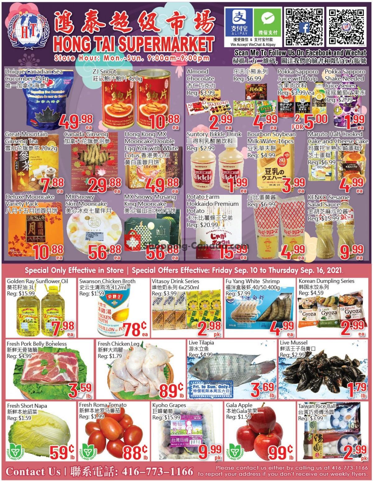 Flyer Hong Tai Supermarket Canada - from Friday September 10, 2021 to Thursday September 16, 2021