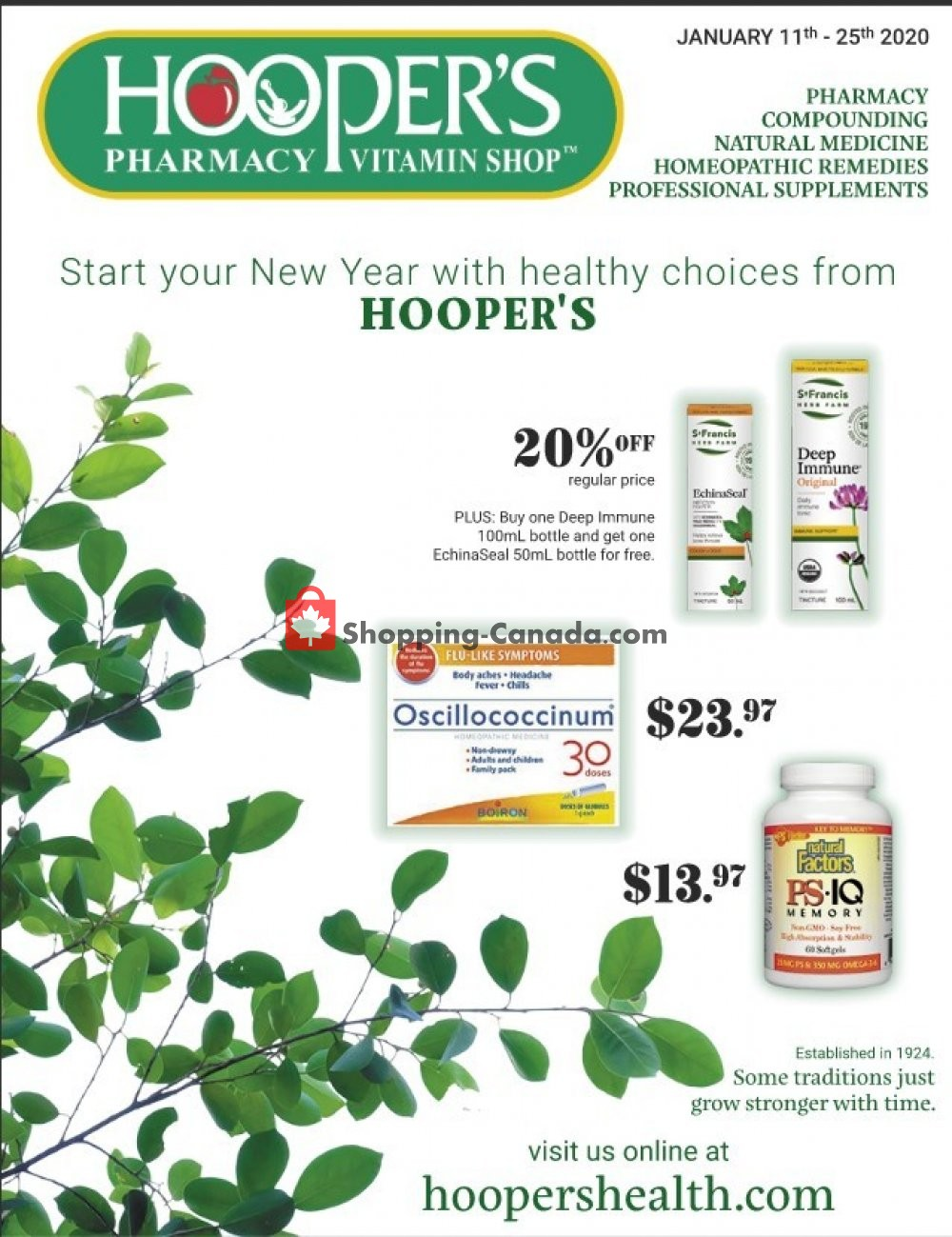 Flyer Hoopers Pharmacy Canada - from Saturday January 11, 2020 to Saturday January 25, 2020