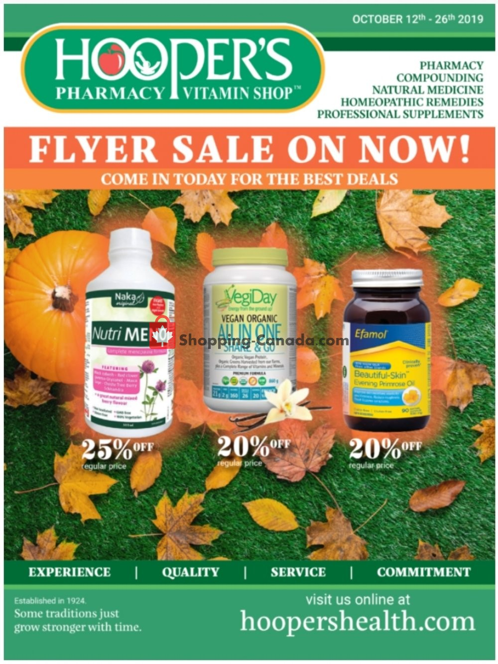 Flyer Hoopers Pharmacy Canada - from Saturday October 12, 2019 to Saturday October 26, 2019