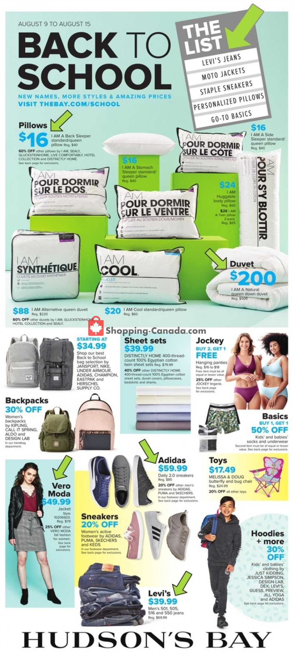 Flyer Hudson's Bay Canada - from Friday August 9, 2019 to Thursday August 15, 2019