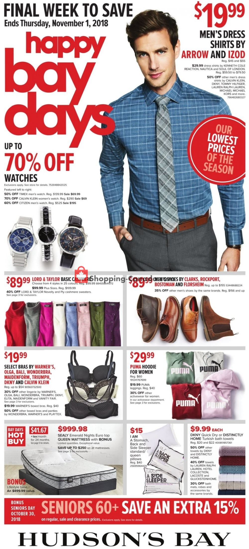 Flyer Hudson's Bay Canada - from Friday October 26, 2018 to Thursday November 1, 2018