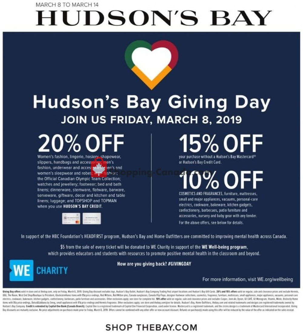 Flyer Hudson's Bay Canada - from Friday March 8, 2019 to Thursday March 14, 2019