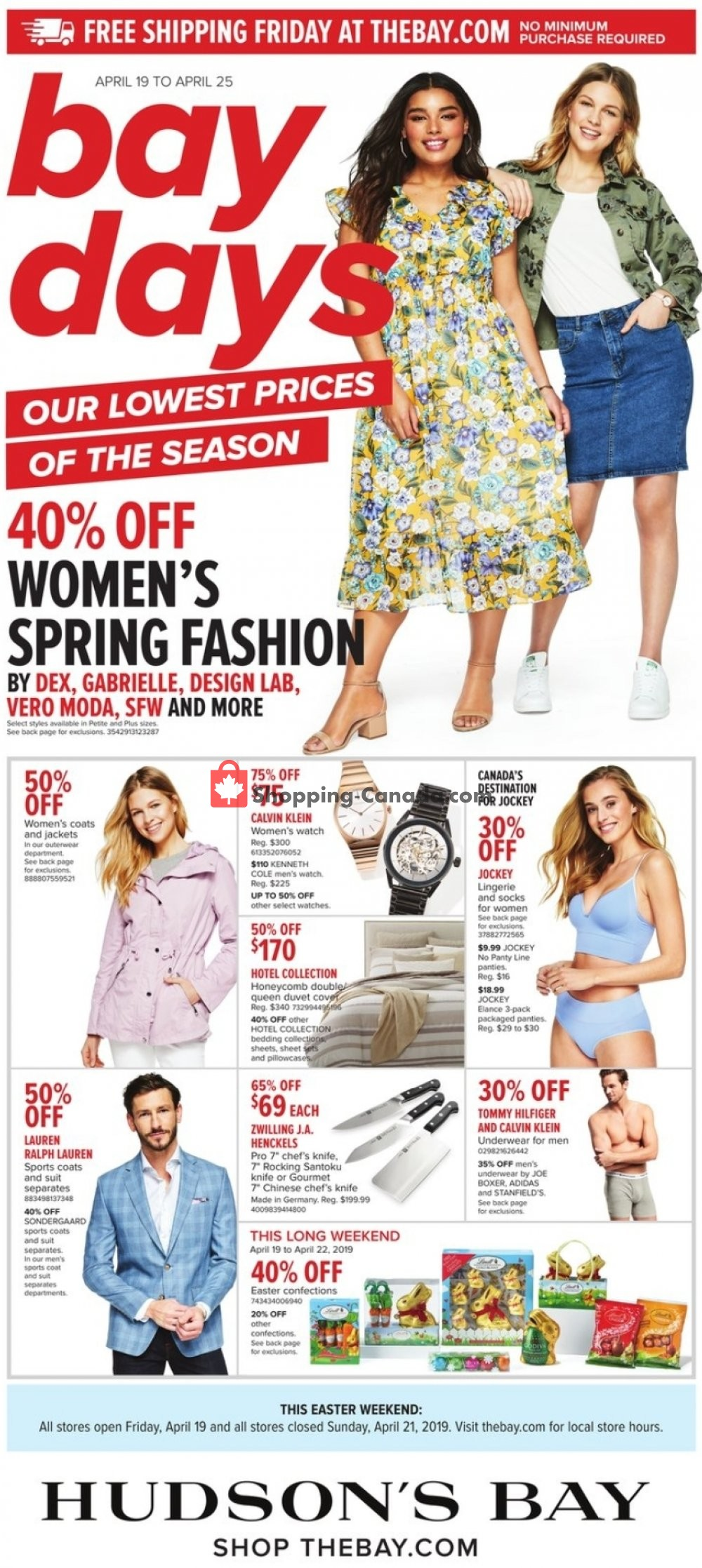 Flyer Hudson's Bay Canada - from Friday April 19, 2019 to Thursday April 25, 2019