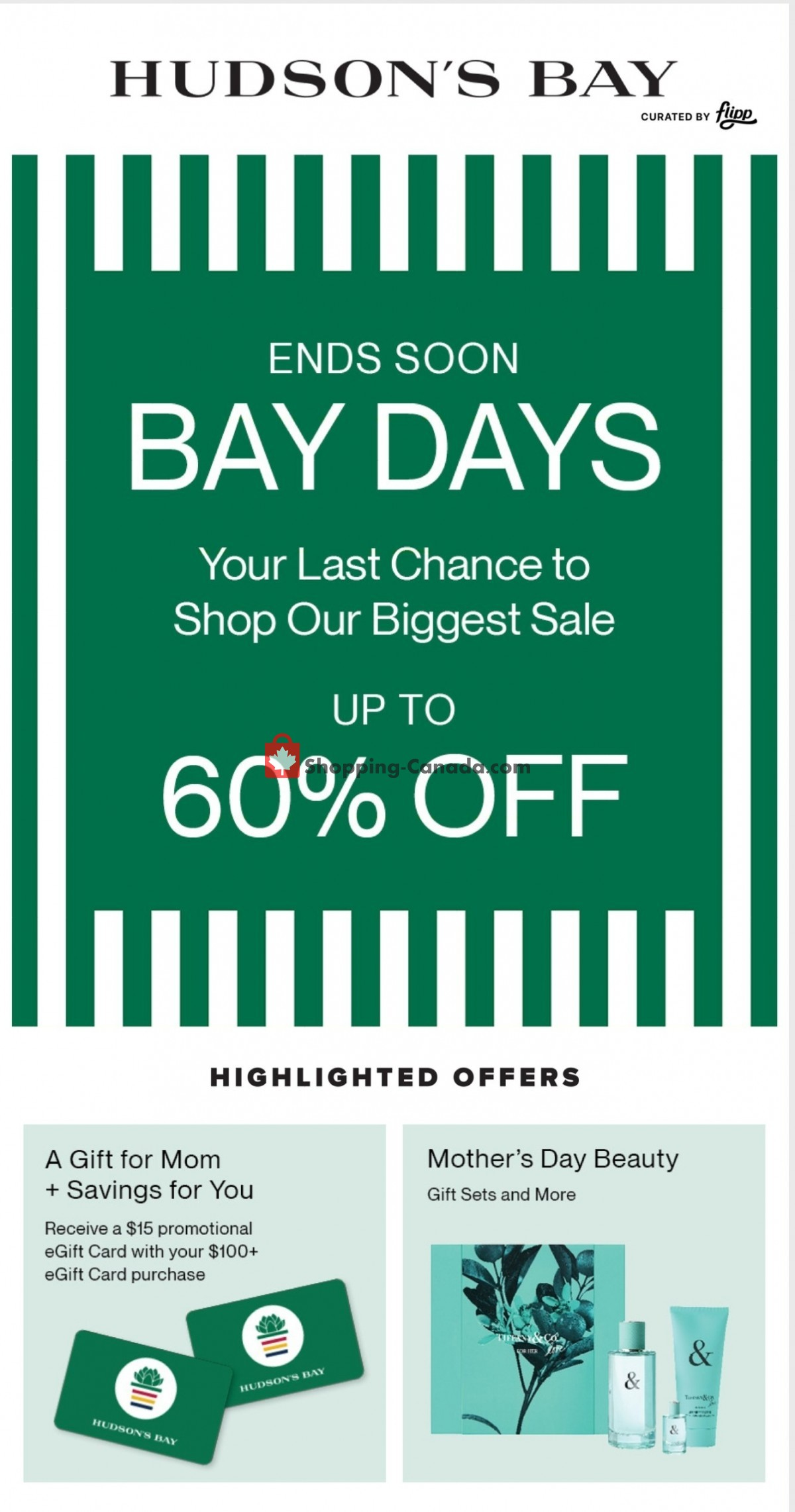 Flyer Hudson's Bay Canada - from Friday April 30, 2021 to Thursday May 6, 2021