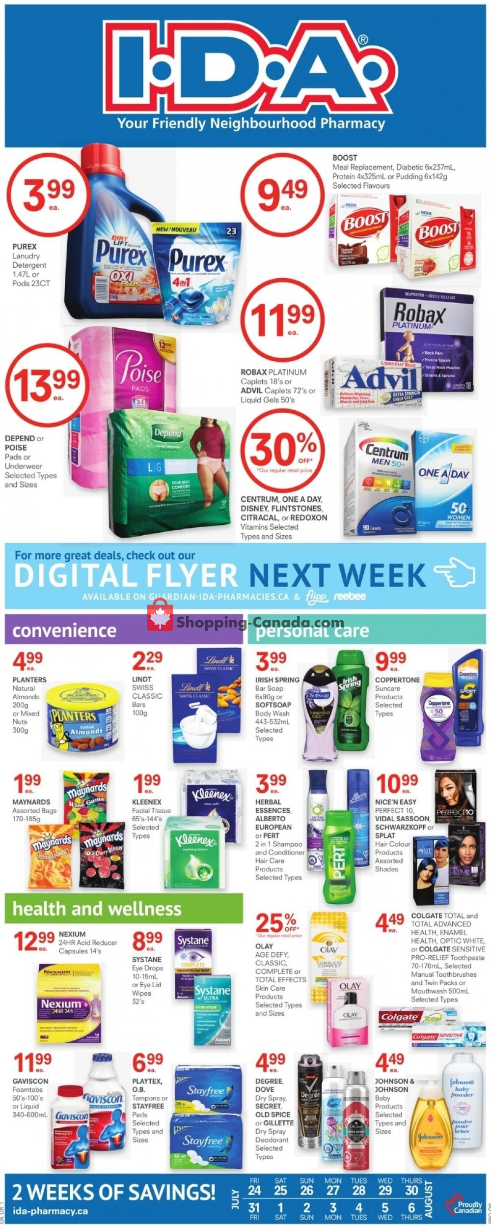 Flyer I.D.A. Canada - from Friday July 24, 2020 to Thursday August 6, 2020