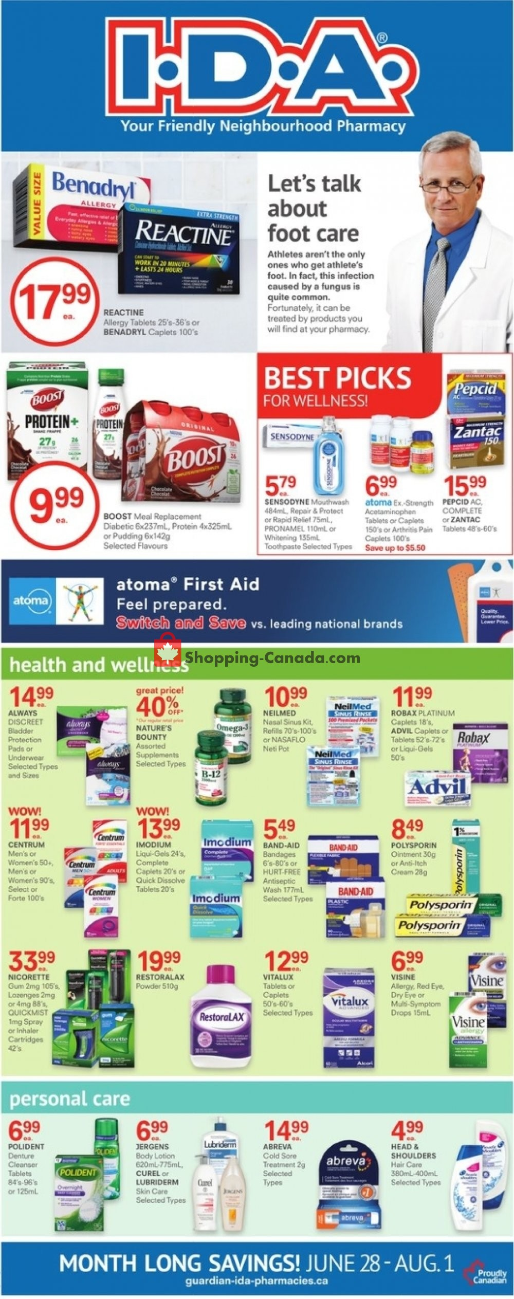 Flyer I.D.A. Canada - from Friday June 28, 2019 to Thursday August 1, 2019